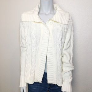 Two Button Cream Chunky Cable Knit Cardigan